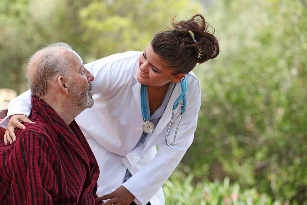 Nurse showing care to patient